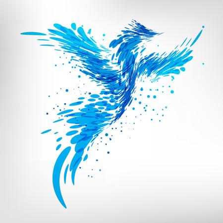 Splashing abstract blue bird on white background Ilustracja