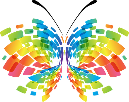 Abstract butterfly isolated geometric colorful on white background