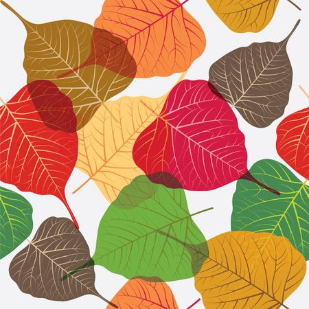 Colorful leaves isolated on white, foliar seamless background Ilustracja