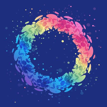 Abstract splash ring on blue background, rounded shape design element