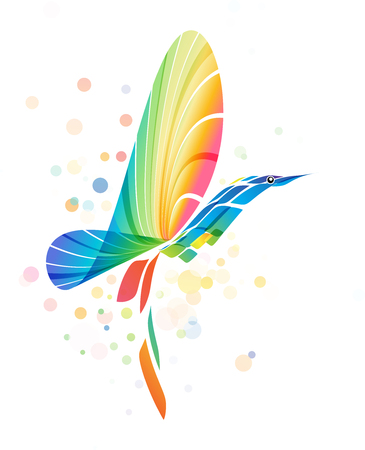 Abstract futuristic colorful bird isolated on white background