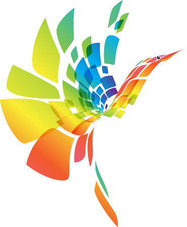 Abstracte multicolored futuristische vogel die op witte achtergrond, vectorillustratie wordt geïsoleerd