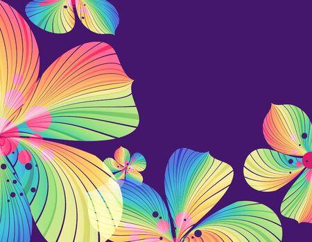 Abstract striped petals on violet background, floral design, vector illustration Ilustracja