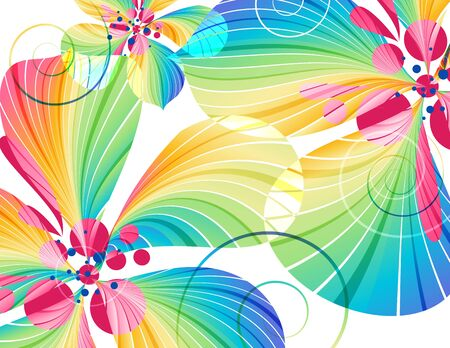 Abstract multicolored flowers on white background Zdjęcie Seryjne