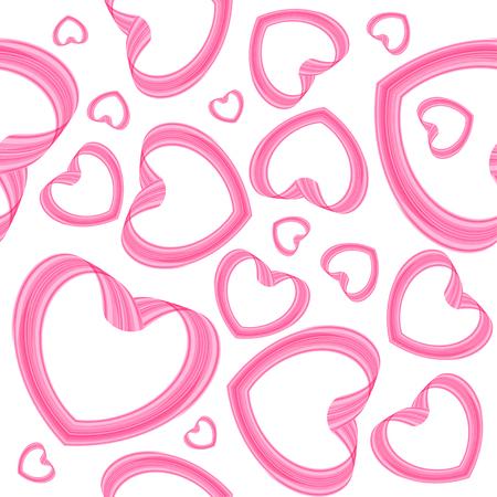 Seamless Valentine background, pink hearts on white Ilustracja