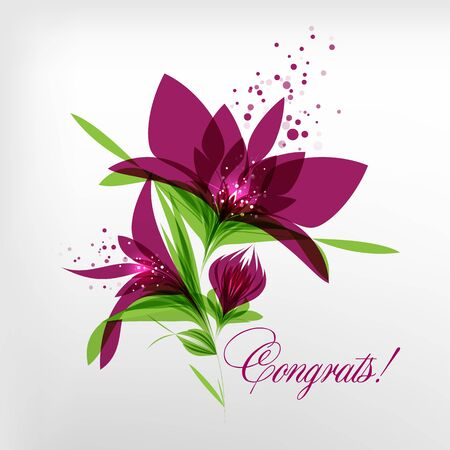 Congrats, card with flowers isolated on white background