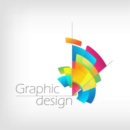 Creative symbol graphic design, vector color stylized pencil on white