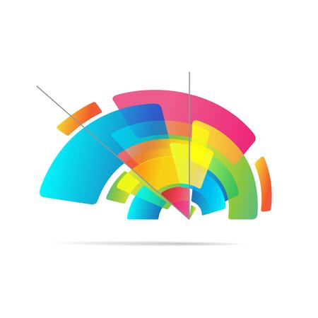 Concept symbol graphic design, colorful pencil on white background, vector illustration