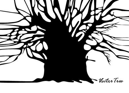 Tree without foliage isolated on white  Ilustracja