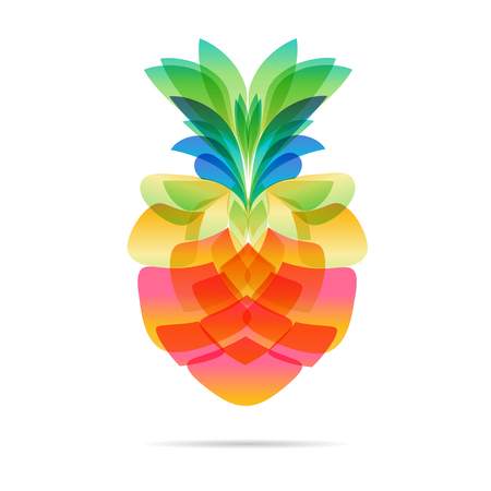 Pineapple isolated on white background, vector illustration
