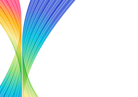 Colorful curve elements on white background, abstraction striped design. Ilustracja