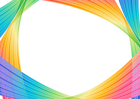Multicolored abstract background, rainbow striped curves on white background