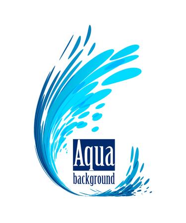 Wave element on white background, splash water, frame shape