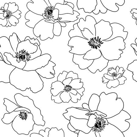 Seamless background, poppy flower outline, black contours on white