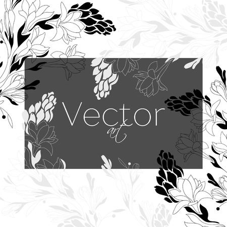 Template background, vector flowers art, black and white