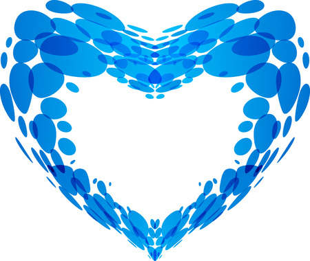 Vector heart shape made with water droplets, isolated on white background Ilustracja
