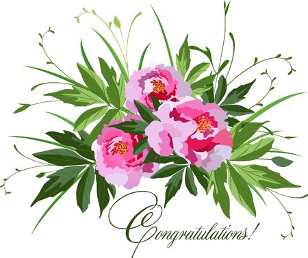 Flowers isolated on white background, vector bouquet with peonies, leaves and greenery, greeting card Ilustracja