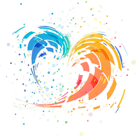 Abstract splash colorful heart isolated on white