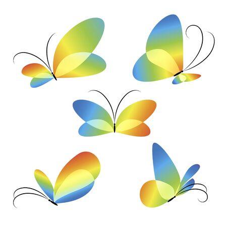 Bright butterflies design, icon set Ilustrace