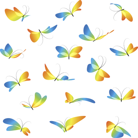Flying butterflies, colorful different butterflies, collection art butterflies, isolated on white background, icon set, beautiful stylized butterflies Ilustracja