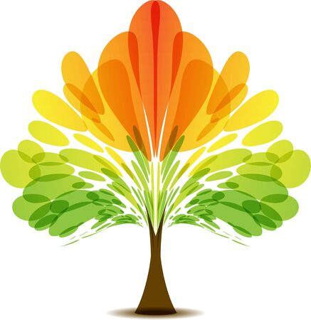 Multicolored abstract tree, autumn tree, tree, icon tree, red yellow orange green, symmetrical crown, season tree Ilustracja
