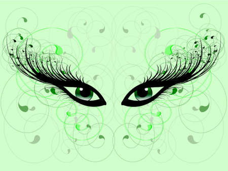 green it: Two eyes with the big eyelashes on it is light a green background Illustration