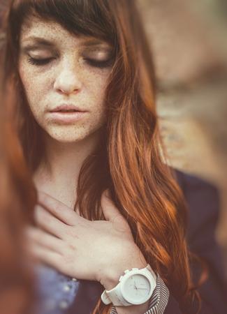 unusual freckle woman in urban fashion European style photo
