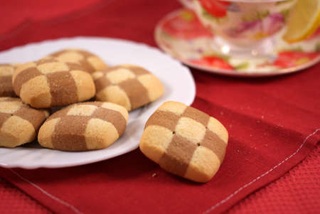 cookies with tea on a tablecloth Stock Photo