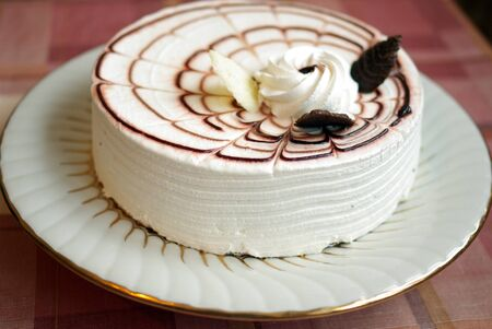 Cake souffle on the tablecloth on the table
