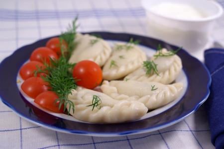 Dumplings with sour cream, decorated with tomatoes Stock Photo - 16776141
