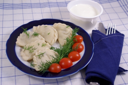 Dumplings with sour cream, decorated with tomatoes Stock Photo - 16776591
