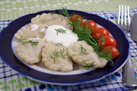 Dumplings with sour cream, decorated with tomatoes Stock Photo - 16776148