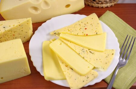 Different varieties of cheese slices on a plate