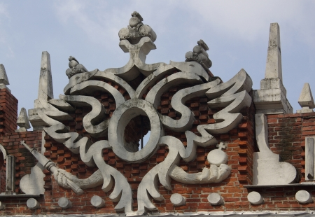 the tsaritsyno: Fragment - the two-headed eagle. Tsaritsyno, Moscow, Russia