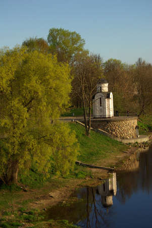 chapel on the bank of the river Velikaya. City of Pskov. Russia Stock Photo