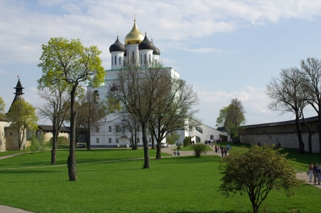 Trinity Cathedral in the city of Pskov, Russia Stock Photo