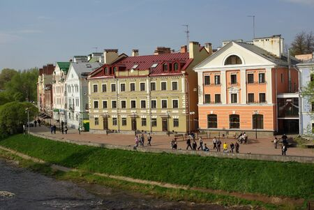 Nowadays embankment with houses in Pskov, Russia Stock Photo
