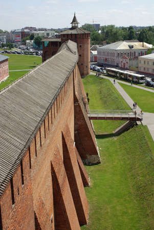 The old kremlin wall in Kolomna in Russia