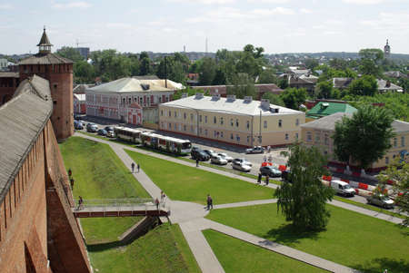 The old kremlin wall  from above in Kolomna in Russia