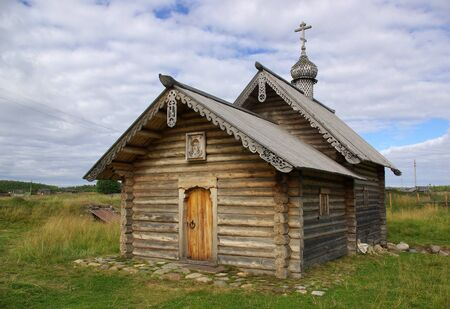 wooden chapel on Solovki in Russia photo