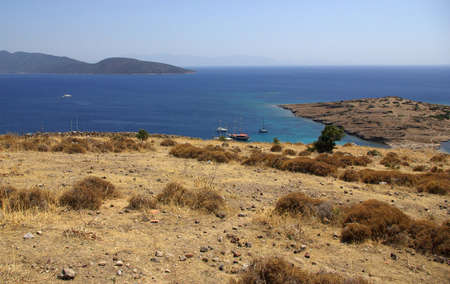 View from the hill over the bay in the Aegean Sea near Bodrum, Turkey photo
