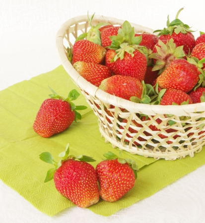 Fresh ripe strawberries in a basket table