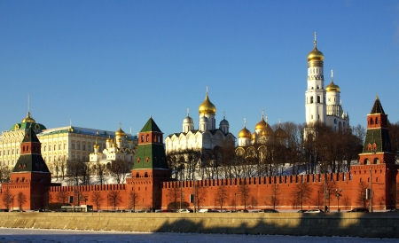 View of Moscow Kremlin in winter day, Russia Stock Photo