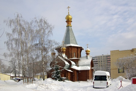 The temple in the town of Zhukovsky, Russia on a cold winter day photo
