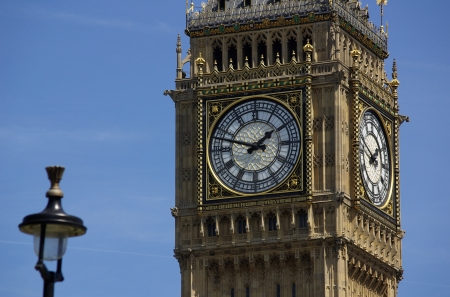 Big Ben in London in England on the blue background photo