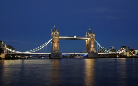 Tower Bridge in London, England at night photo