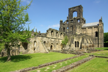 Kirkstall Abbey in Leeds, UK in summer day