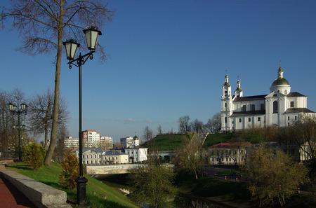 Holy Assumption Cathedral, Vitebsk, Belarus in spring day 版權商用圖片