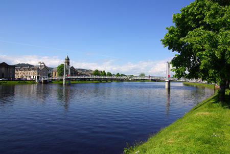 ness river: Bridge in Inverness, Scotland on a sunny summer day Stock Photo