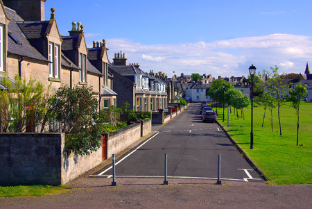 highlands region: Street in Nairn, Scotland on a sunny summer day Editorial